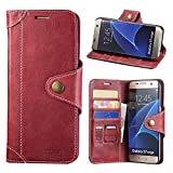 Galaxy S7 Edge Case, Lensun Genuine Leather Wallet Magnetic Flip Case Cover for Samsung Galaxy S7 Edge 5.5' - Wine Red (S7E-GT-WR)