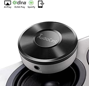 Wifi Audio Receiver, Wifi Music Receiver, Wireless Audio Adapter, Wifi Audio Streaming Receiver DLNA Airplay Sharing Music Wireless Multi-Room Audio Adapter for your Speakers (Featuring Airplay Spotify. Not for Google Home)