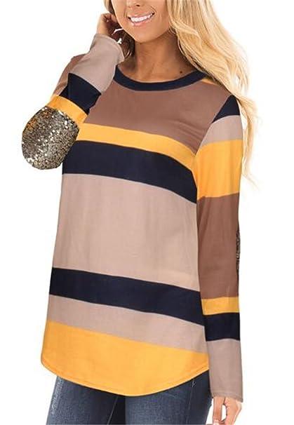 Aoliait Mujer Ligero Camisetas De Manga Larga Hipster Cuello Redondo T Shirt Joven Empalme De Color