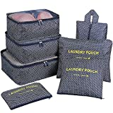 Packing Organizers,Mossio 7pc Small Medium Large Packing Cubes Set Garment Clothes Bag Navy Star