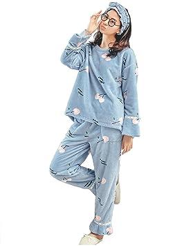 46a1330bda RZ.hs Pijamas de Franela de Invierno para Mujer Set Ladies de 2 Piezas Soft