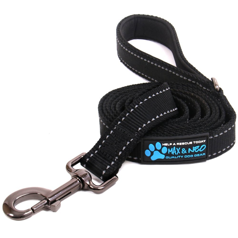 Max and Neo Reflective Nylon Dog Leash - We Donate a Leash to a Dog Rescue for Every Leash Sold (BLACK, 6 FT)