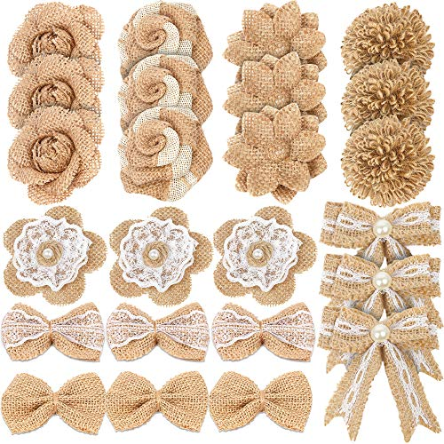 LEOBRO 24PCS Burlap Flowers, 8 Styles Natural Handmade Rustic Rose Flower Bowknot with Faux Pearls for DIY Craft Bouquets Home Wedding Christmas Party Decoration ()