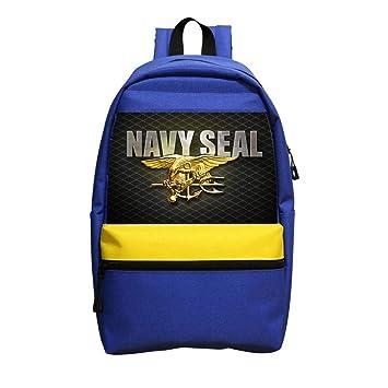 Mochila grande con logotipo de color azul marino para adolescentes, bolso de hombro: Amazon.es: Oficina y papelería
