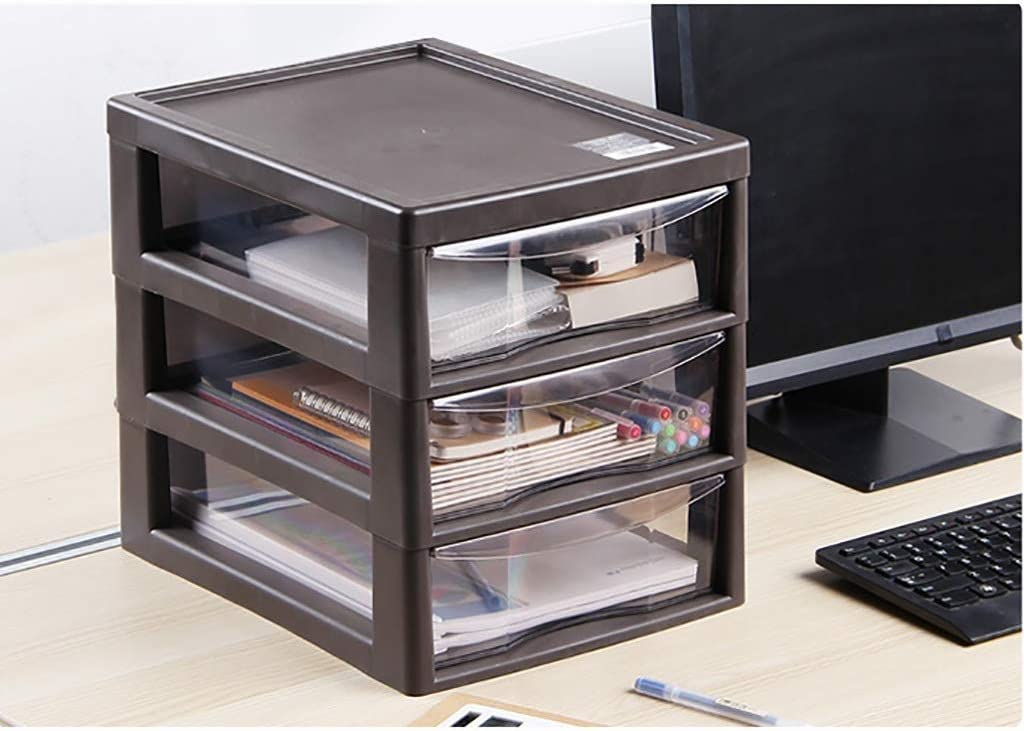 LKJH File Cabinets Desktop Storage Box Office Shelf Three-Layer Drawer Cupboard Large Data Multifunction Drawer Color : Brown