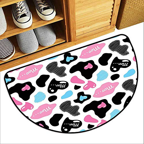 YOFUHOME Cow Print Door mat Customization Cow Hide with Hearts Moo Barnyard Love Valentines Abstract Design Hard and wear Resistant W29 x L17 Light Pink Black White