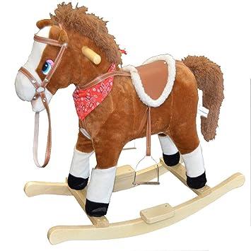 Holzspielzeug Schaukeltier Pferd mit Sound NEU hellbraun