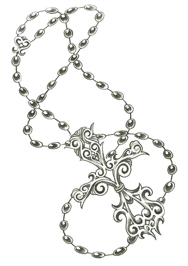 Catholic Rosary Beads Cross Temporary Body Art Tattoos 2 5 X 3 5