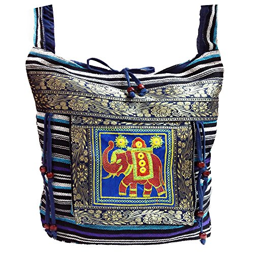 Casual Boho Bag body Elephant Vintage Boho Hobo Cross Hippie Sling Blue Bag Shoulder Messenger vx7qdwvYW