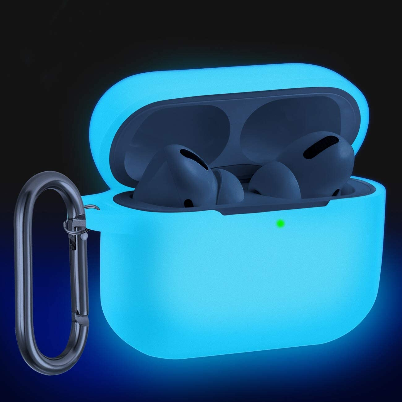 Wepro Compatible with AirPods Pro Case Cover (Front LED Visible) Designed for AirPod Pro Case 2019, Shockproof Silicone Protective Skin with Keychain for Airpods 3, Girls, Boys (Nightglow Blue)