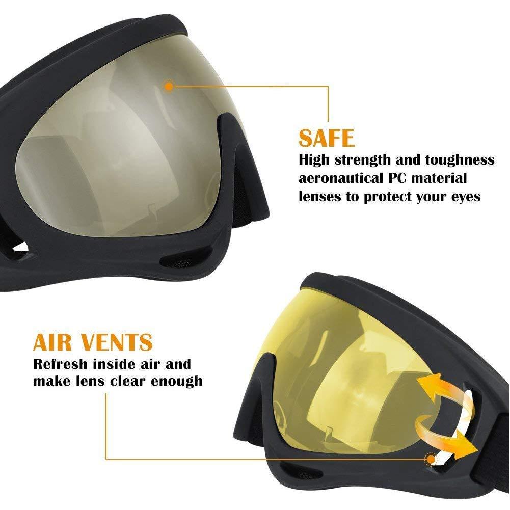 ZYHPick Winter UV Protection Windproof Dustproof Skiing Glasses Goggles Outdoor Sports CS Glasses Ski Goggles UV400 Dustproof Motocross Cycling Sunglasses