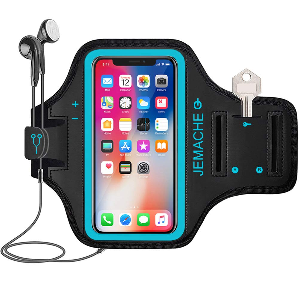 iPhone X/XS Armband, JEMACHE Water Resistant Gym Running/Workouts Arm Band Case for iPhone X/XS with Key/Card Holder (Blue) IFCASE