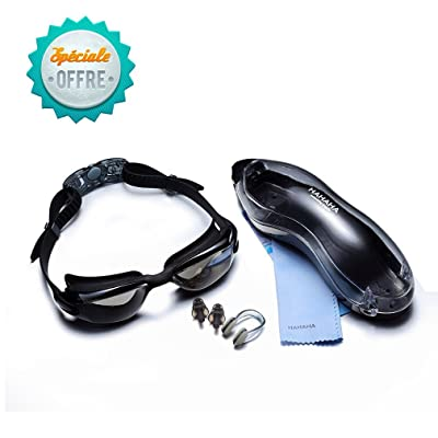 Lunettes de natation, Anti-Buée Miroir Seal Nager Lunettes de natation avec protection UV Placage + supérieur lunettes de protection lunettes protectrices, avec étui protecteur gratuit, pince-nez, bouchon