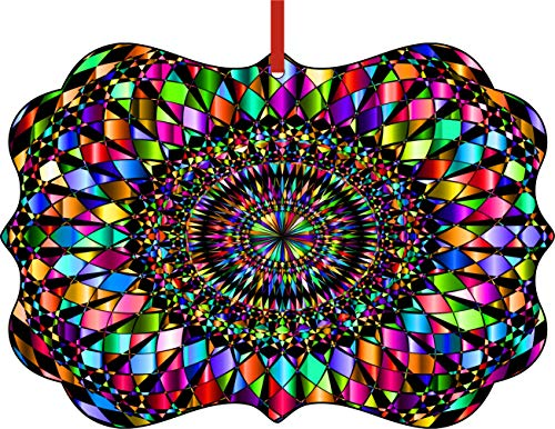 Jacks Outlet Multicolored Stained Glass Style Mandala Elegant Semigloss Aluminum Christmas Ornament Tree Decoration - Unique Modern Novelty Tree Décor Favors