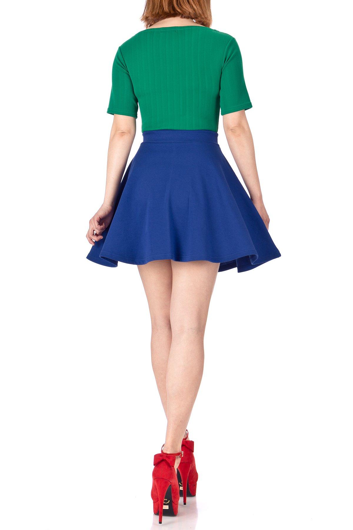 Basic Solid Stretchy Cotton High Waist A-line Flared Skater Mini Skirt (XL, Cobalt Blue)