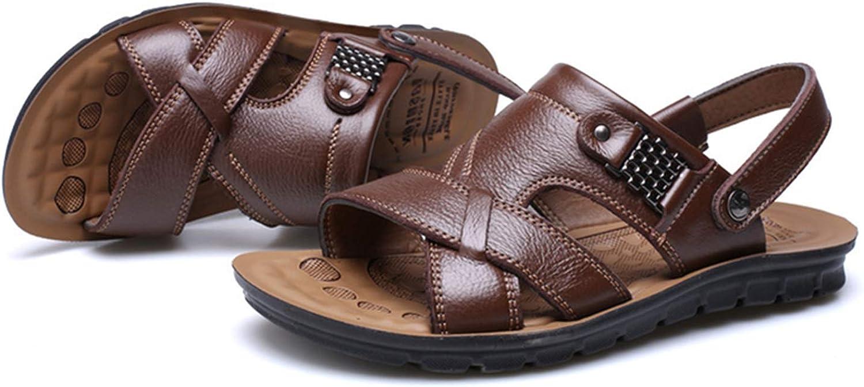 FTSDD32 Mens Summer Sandals Brand Leather Beach Sandals for Male Adult Slip-on Men Casual Shoes Black Big Size 38-46,Black,12