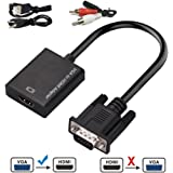 VGA to HDMI, Urgod VGA Male to HDMI Female Adapter 1080P HD Video Converter Cord 3.5mm Audio Cable & USB Power Cable Old PC to TV/Monitor/Projector HDMI