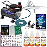 Master Airbrush Tattoo System. Master G22 Airbrush, Air Compressor, 100 Tattoo Stencils, 6' Air Hose, 4 Color Temporary Tattoo Ink in 1-oz Bottles Includes a How to Airbrush Training Book