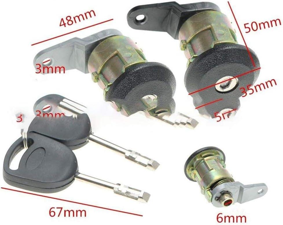 2 Llaves para Ford Negro Longspeed Fiesta 95-02 KA 96-08 Courier Escort 2X Juego de Barril con Cerradura de Puerta