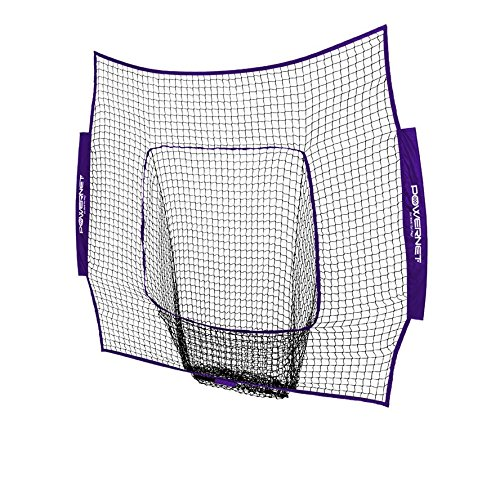 PowerNet Team Color Nets Baseball and Softball 7x7 Bow Style (NET ONLY) Replacement | Heavy Duty Knotless | Durable PU Coated Polyester | Double Stitched Seams for Extra Strength (Purple)