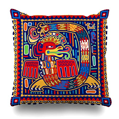 Pandarllin Throw Pillow Cover Folktale Dragon Quetzalcoatl Ornamental Pattern America American Maya Mayan Peru South Toltec Design Cushion Case Home Decor Design Square Size 18 x 18 Inches Pillowcase