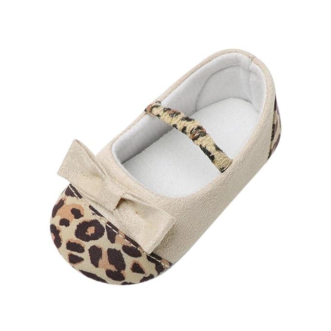 Amazon.com: moonker niña leopardo arco Cuna zapatos de bebé ...