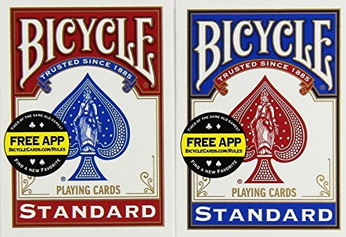 Bicycle Poker Size Standard Index Playing Cards (2-Pack) [Colors May Vary: Red, Blue or Black] (2 Pack Deck)