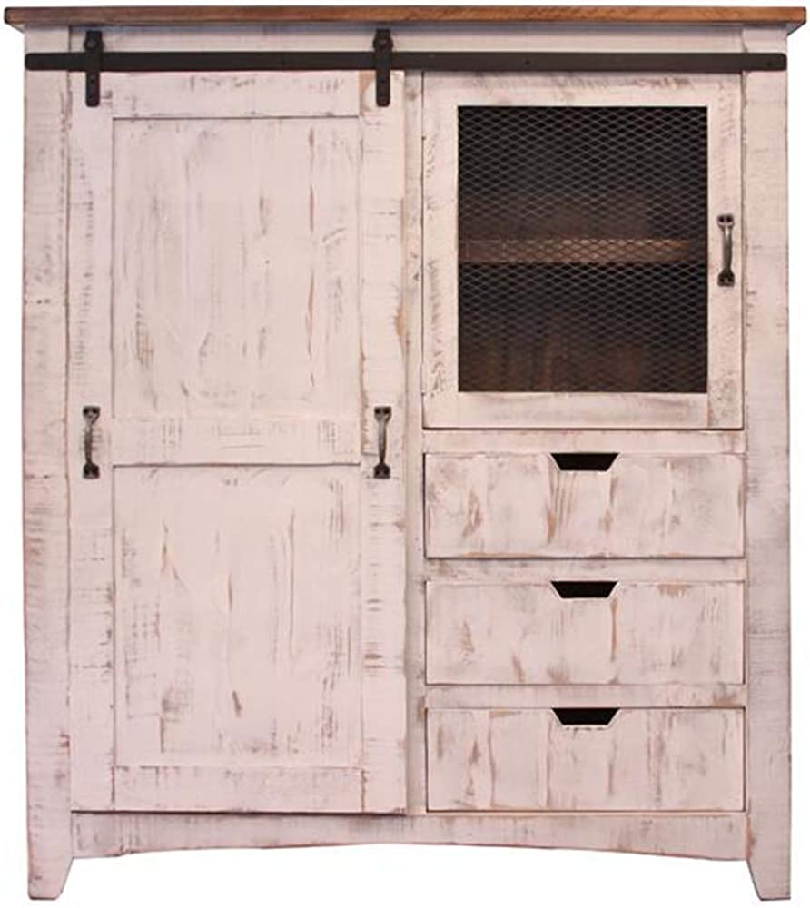 Crafters and Weavers Greenview Rustic White Farmhouse-Style Armoire Gentleman s Chest
