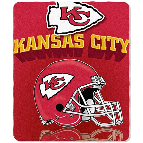 NFL Kansas City Chiefs Gridiron Fleece Throw, 50-inches x 60-inches ()
