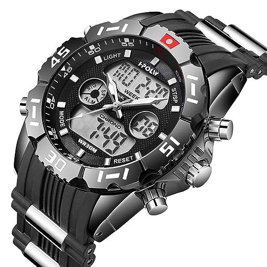 Relojes de hombre negro cronógrafo militar analógico digital impermeable reloj deportivo de gran cara de negocios fecha calendario alarma LED cronómetro ...