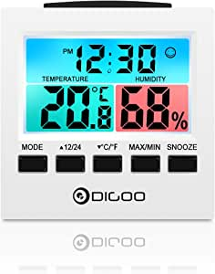 DIGOO DG-C6 Digital Home Indoor Thermometer Hygrometer Humidity Monitor Gauge with Backlight Alarm Clock, Colorful LCD Gauge Meter