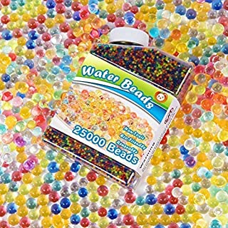 pasa Water Beads 25000 Rainbow Mix Non Toxic for Kids Tactile Sensory Toys, Spa Refill,Vases, Plants, Wedding and Home Decoration