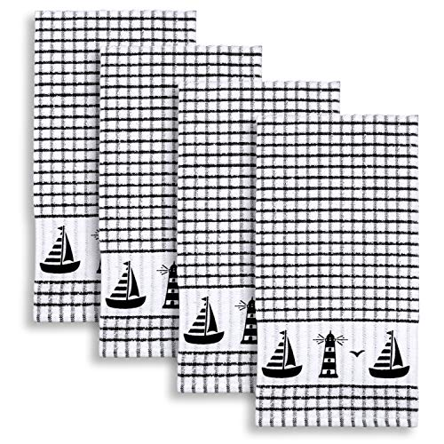 Cackleberry Home Sailboat & Lighthouse Windowpane Check Cotton Terrycloth Kitchen Towels, Set of 4 (Black) ()