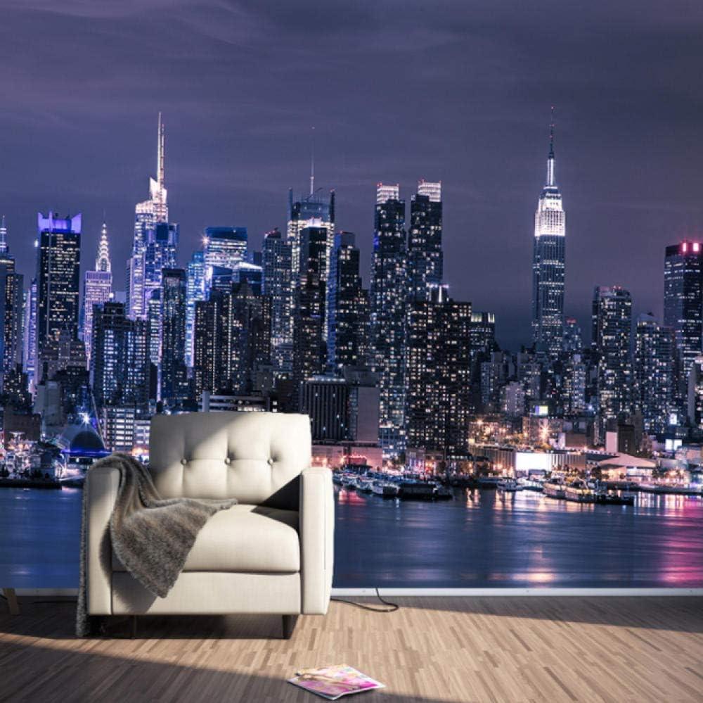 Wxmztt Modern New York City Night View Photo Mural Wallpaper