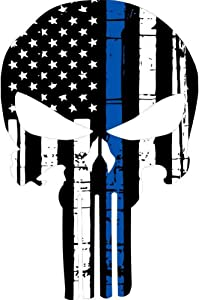 CSCH Car Stickers Punisher Skull Flag Police Blue Line Decal Reflective Car Sticker 9.9CMX15CM Car Decals