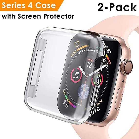 EZCO 2-Pack Compatible Apple Watch Series 4 Case 40mm 44mm, Soft TPU All-Around Screen Protector Cover Bumper Compatible iWatch 4 Smartwatch, Crystal ...