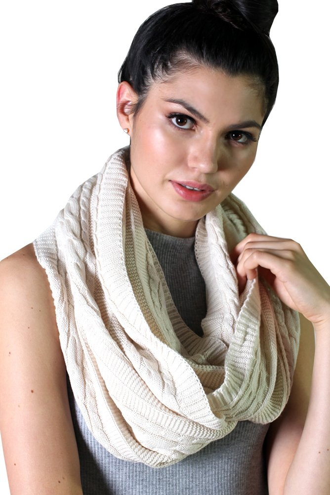 Viverano Pure Organic Cotton Cable Knit Infinity Loop Scarf - Soft, Chunky, Natural (Ivory)