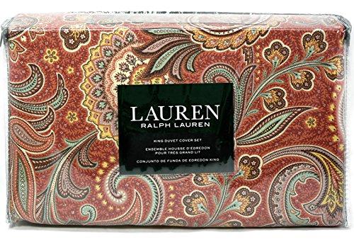 Ralph Lauren Red Green Blue Gold Paisley Duvet Cover Set ...