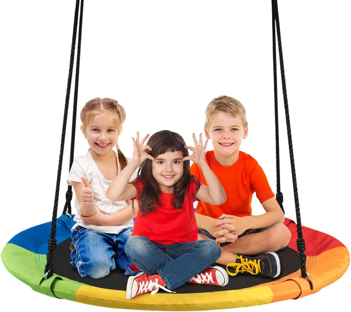Costzon 40 Waterproof Saucer Tree Swing Set, Outdoor Round Swing Colorful – Adjustable Hanging Ropes, Safe and Sturdy Swing for Children Park Backyard Multicolor