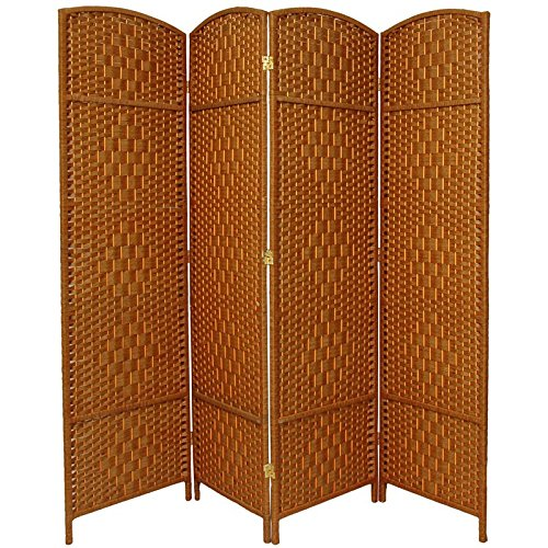 Oriental Furniture 6 ft. Tall Diamond Weave Fiber Room Divider - Dark Beige - 4 Panel