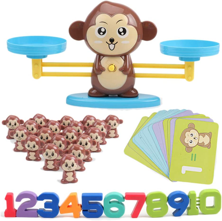 Pywee Monkey Digital Scales Toy Balance de educación temprana Niños Educación Digital Suma y resta Digital Math Scales Toys