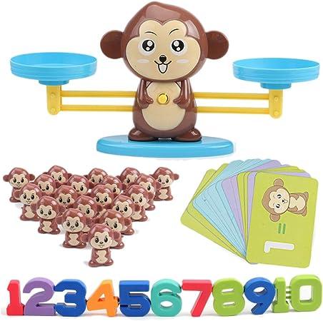 Balance - Balanza digital de iluminación de mono, juguete de aprendizaje, complemento digital y subcontracción, rompecabezas de matemáticas, ABS, AFFE, 35 x 9,5 x 17 cm: Amazon.es: Hogar