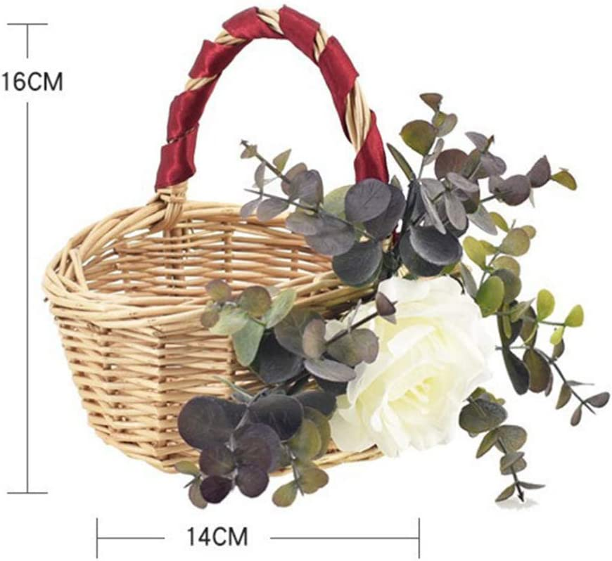 PRETYZOOM Wicker Flower Girl Basket Vintage Rustic Basket with Handle American Style Wedding Flower Basket Style 3