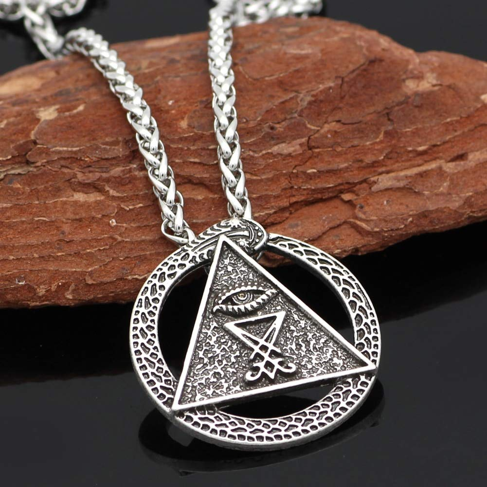Mens necklace Church Of Satan Charm Pagan Wiccan Talisman All Seing Eye Amulet Sigil Of Lucifer Snake Pendant Necklaces