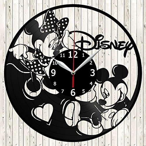 Walt Disney Mickey Minnie Mouse Vinyl Record Wall Clock Decor Handmade Unique Original Gift (Wall Disney Clocks)