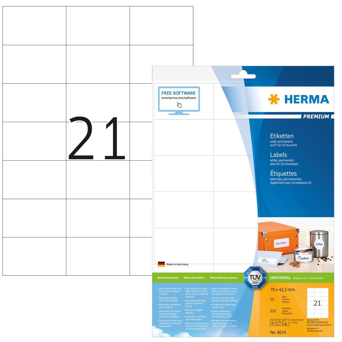 Herma 8634 Premium Adressetiketten (70 x 42,3mm) weiß, 210 ...