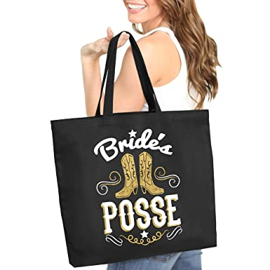 brides posse white metallic silver jumbo canvas tote country western cowgirl bachelorette party
