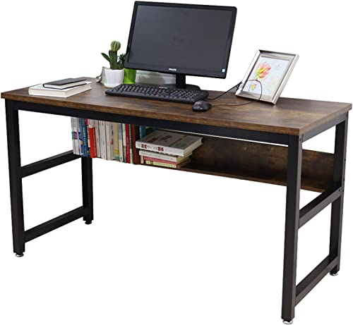 Lazyin Computer Desk 55 Writing Office Desk with Bookshelf Sturdy Desk with 0.98 Thicker Tabletop Industrial Writing Study Table Workstation Home Office