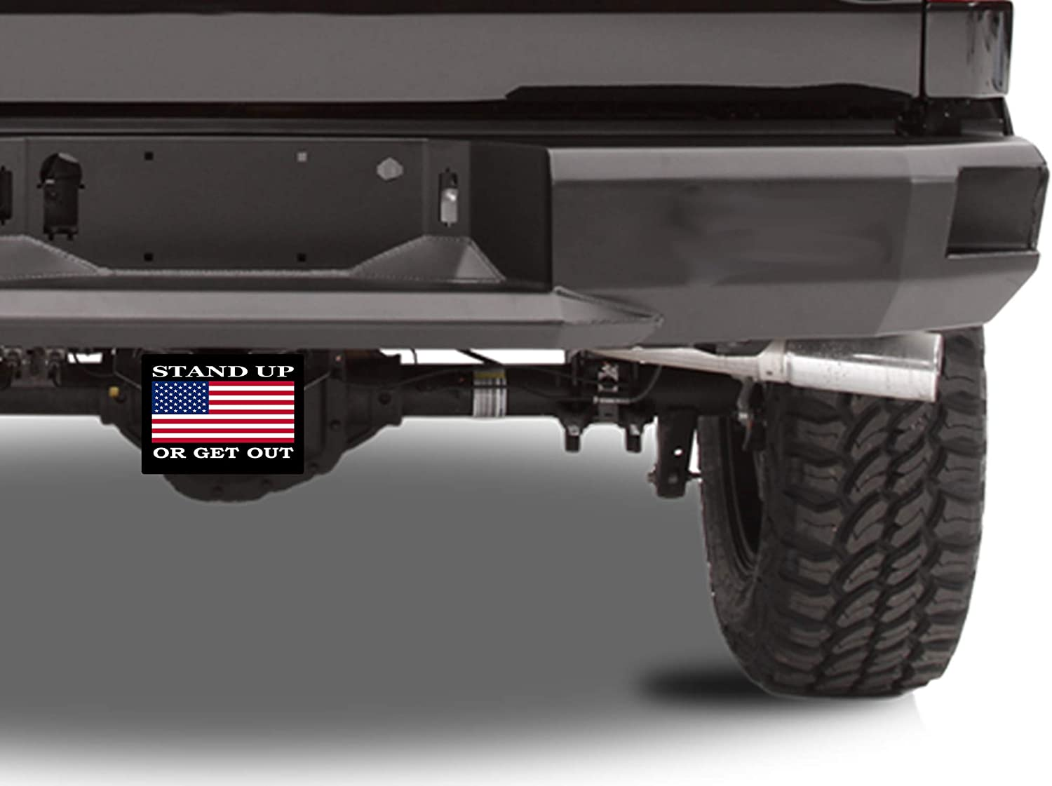 Rogue River Tactical USA American Flag Trailer Hitch Cover Plug US Patriotic Stand Up Or Get Out