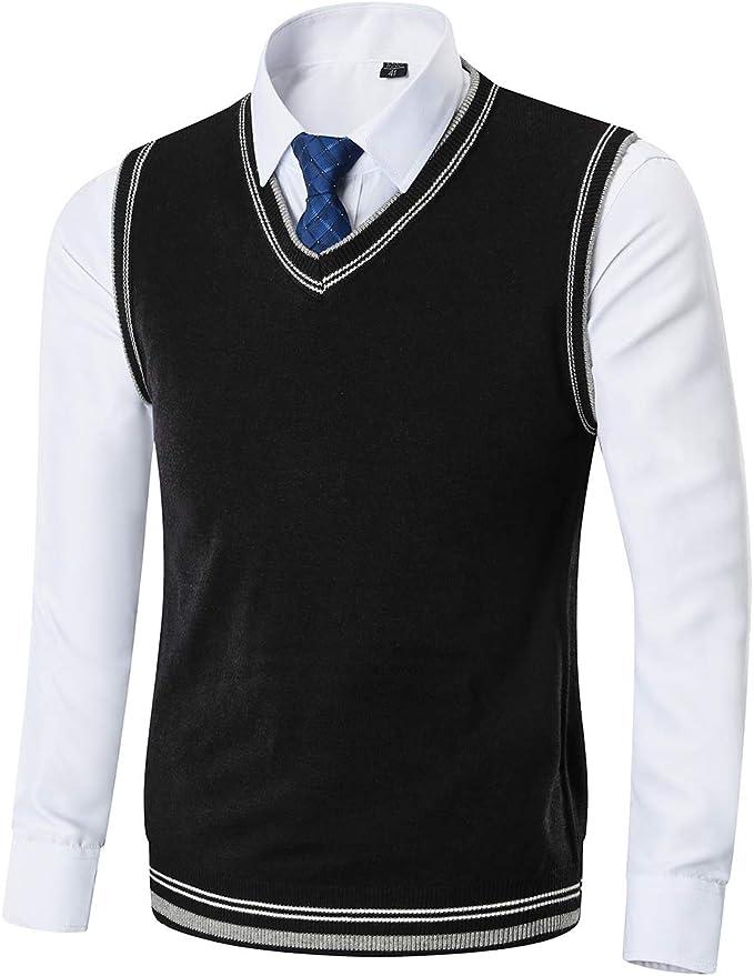 Kinlonsair Men's Casual Slim Fit Sweater Vest